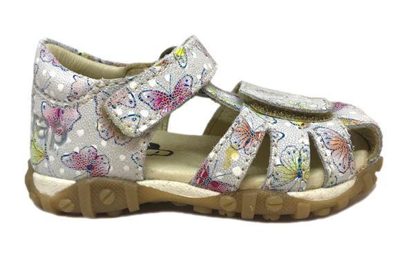Image of Arautorap (RAP) sandal med lukket hæl, Butterfly Hvid (Rap-sandal12113-butterfly-white)