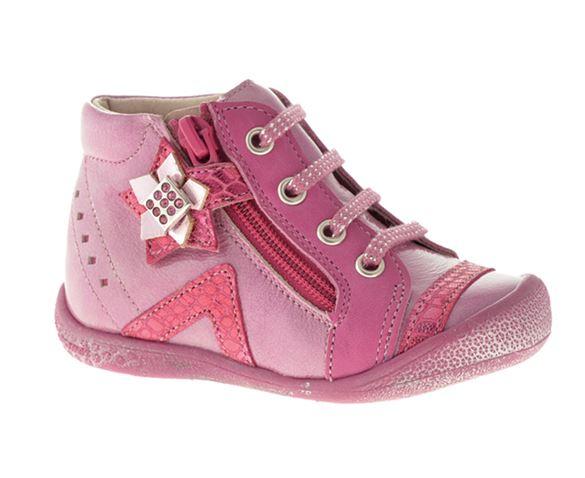 Billede af BabyBotte Azarine pigesko med snøre/lynlås, pink