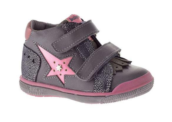 Image of   BabyBotte Avenir, pige velcrosko, grå/pink