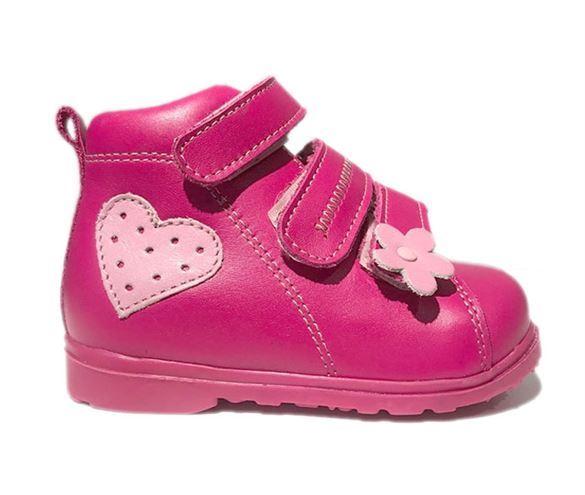 Dawid sko m/velcro, pink - pigesko med støtte