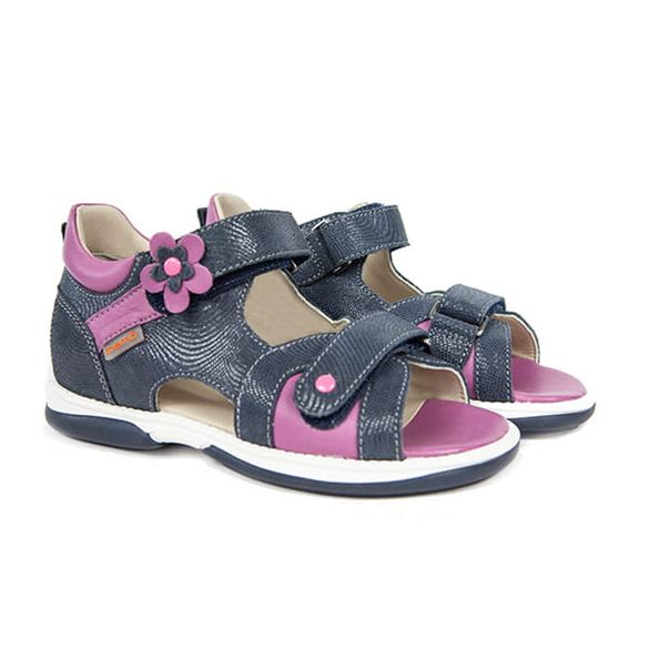 Memo Kristina sandal, navy/lilla - sandal med ekstra støtte