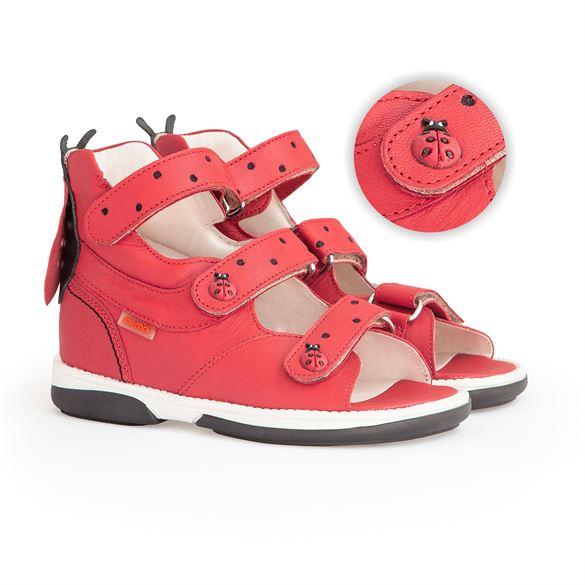 Memo sandal Mariehøne, rød - sandaler med ekstra støtte