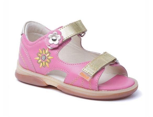 Billede af Memo Jaspis, pigesandal, pink/guld - pigesandal med ekstra støtte