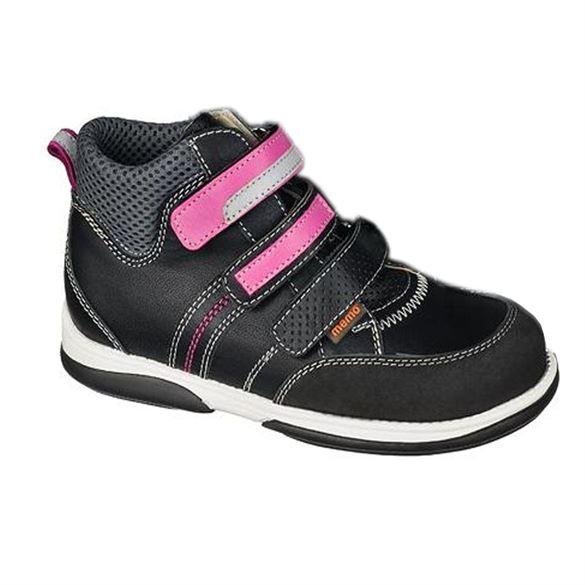 Billede af Memo Polo, velcrosko, sort/pink - med ekstra støtte