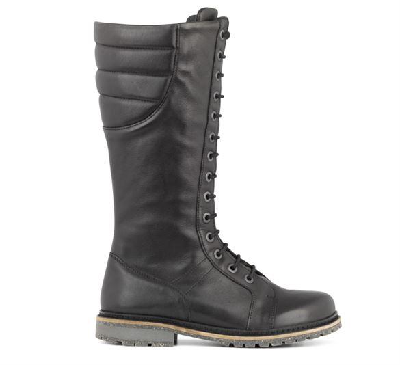New Feet lange støvler m/snøre og lynlås, sort