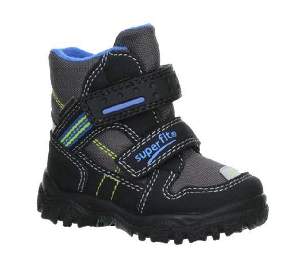 Billede af Superfit små drengestøvler, sort/grå m. blå