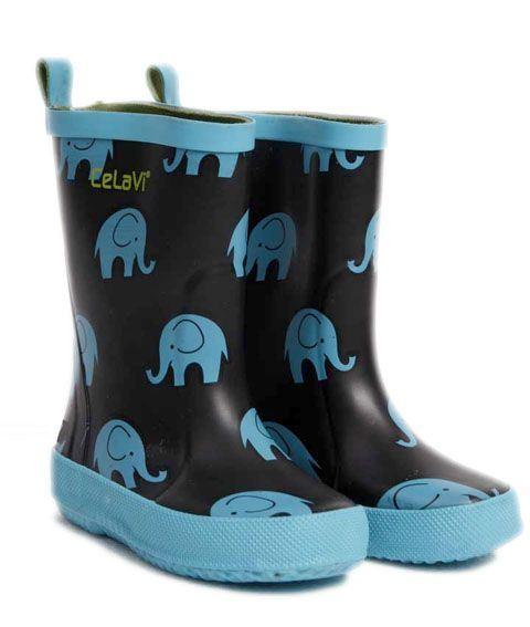Billede af CeLaVi smalle gummistøvler med elefant-print, sort/turkis