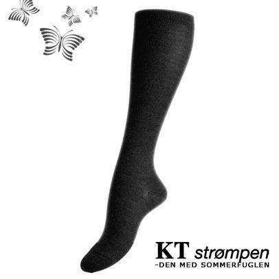 Uld knæ-strømper, koksgrå (31-34) - velegnet til membran-støvler