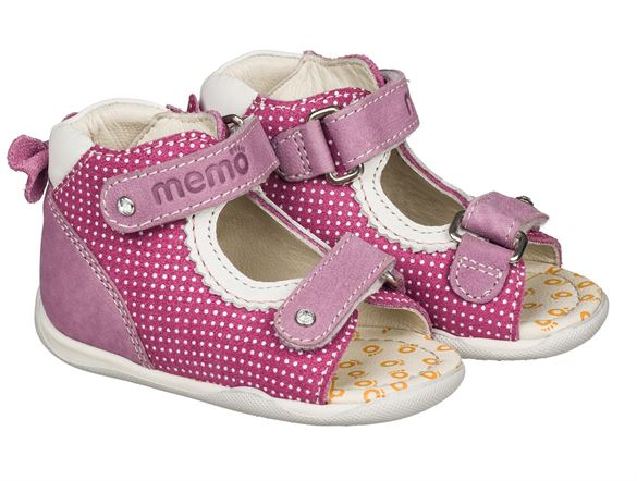 Image of Memo Mini, pigesandal, pink - pigesandal med ekstra støtte (Memo-Mini-pink)