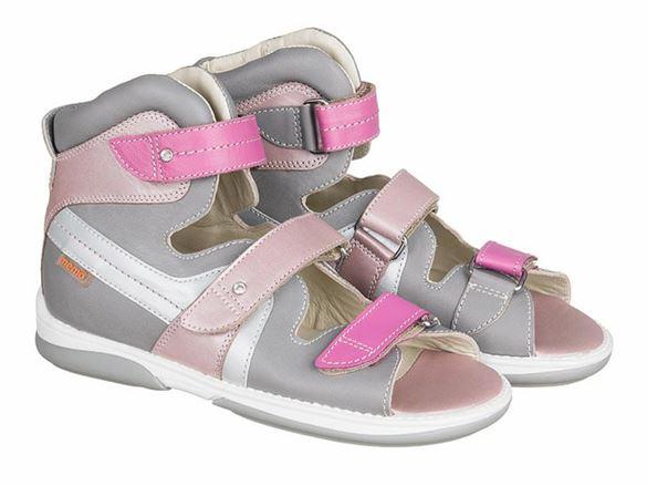 Image of Memo Iris, pigesandal, grå/lyserød - pigesandal med ekstra støtte (Memo-iris-sandal)