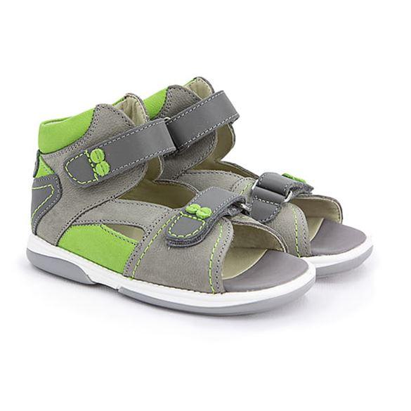 Memo Monaco, grå/grøn - sandal med ekstra støtte