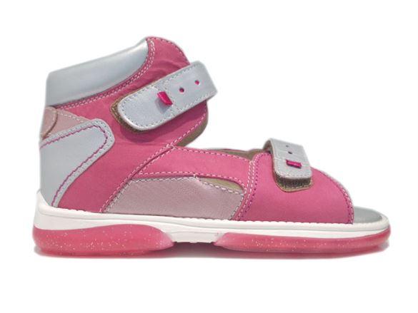 Memo Monaco, pigesandal, pink/sølv - pigesandal med ekstra støtte