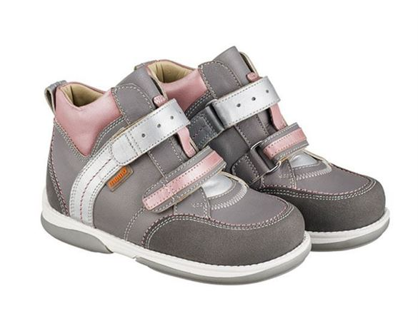 Memo Polo, pigesko, grå/pink - pigesko med ekstra støtte